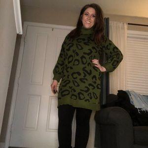 Leopard dress Green & Cream